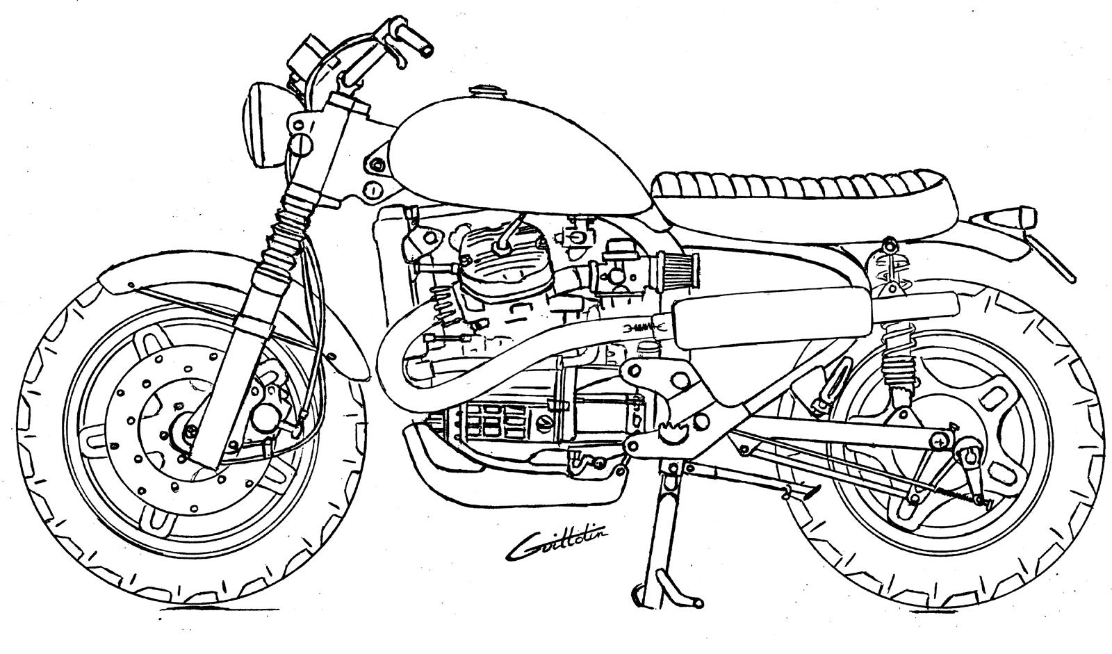 Dessin Moto Custom 500 cx  scrambler ? - hondacx